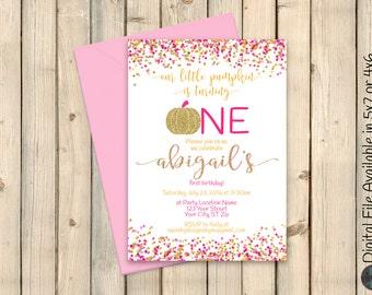 Sweet Little Pumpkin, Pink and Gold Pumpkin Birthday Invitation, Pumpkin Birthday Invite, ONE, First Birthday, Confetti Glitter, DIGITAL