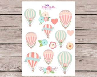 MINI Come Fly With Me Decorative Stickers | Hot Air Balloon | Planner Stickers | Happy Planner, Erin Condren, Plum Planner - 265
