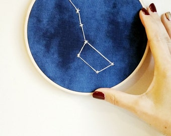 Ursa Major, Big Dipper Art, Embroidered Space Art, Astronomy Art, Constellation Gifts, Celestial Embroidery, Unisex gift, Unisex Baby Decor
