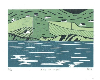 Aird Of Sleat, Skye, Scotland -  Linocut, Original Print