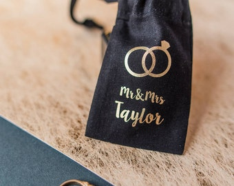 Wedding Ring Pouch - Personalised Wedding Ring Mini Pouch - Mr & Mrs Ring Pouch