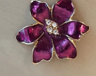 Vintage Floral Brooch Purple Gold Flower