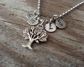 Hand Stamped Necklace - Personalized Gift - Family Necklace - Family Tree Necklace - Family Initials