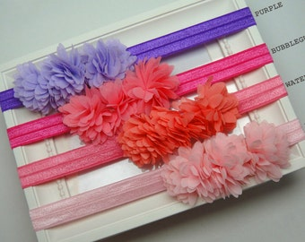 Ruffle Headband, Flower Headband, Newborn Hair Accessory, Elastic Headband, Pink, Purple, Chic, Boho Headband, Bridesmaid