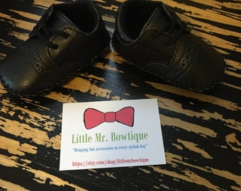 Baby Shoes - Infant/Toddler Black PU Leather Shoes