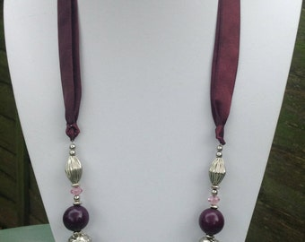 Lovely Vintage Purple, Pink and Silver Beaded Necklace With Purple Ribbon