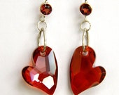 Heart Earrings, Silver Earrings, Garnet Gemstone, Red Earrings, Red Crystal Hearts, Valentine Jewelry, Short Earrings, Handcrafted Earrings