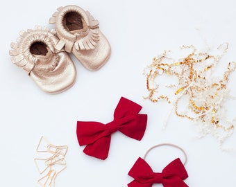 Baby Girl, Toddler, Girl Fabric Bow Headband or Clip - Rich Red