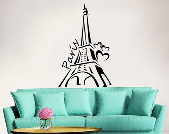 Eiffel Tower Wall Decal Vinyl Stickers Decals Art Home Decor Mural Vinyl Lettering Wall Decal Paris Silhouette France Bedroom Dorm ZX250