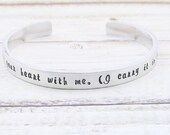 Personalized bracelet I carry your heart with me hand stamped message jewelry silver cuff bangle gift for her quote jewelry custom