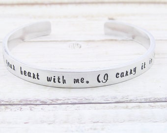 I carry your heart with me bracelet, personalized jewelry, hand stamped, message jewelry, silver cuff bangle, gift for her, quote jewelry