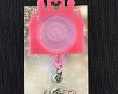 Disney castle inspired photo frame (pink) retractable ID badge holder/reel
