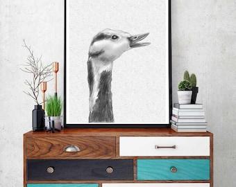 Goose Print, Nursery Animal Wall Art, Kids Printable Art, Black and White Goose Print,  Farm Animal Animal Print, Nursery Printable