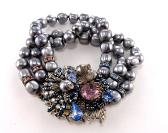 Miriam Haskell Beaded Bracelet Over the Top Details Unsigned Grey Purple Blue Gray Glass Baroque Pearls