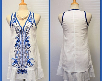 NEW Designer Hi-Low V neck Sleeveless  Embroidery Work Tunic Top, Availabe in sizes S ,M, L