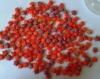 SALE! 200  Red Upcycled, Recycled Origami Stars,