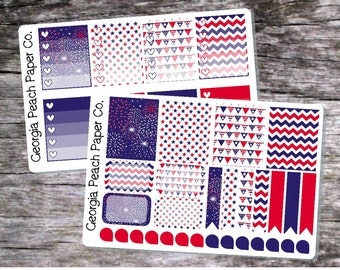 4th of July/July 4th Themed Planner Stickers - Made to fit Vertical Layout