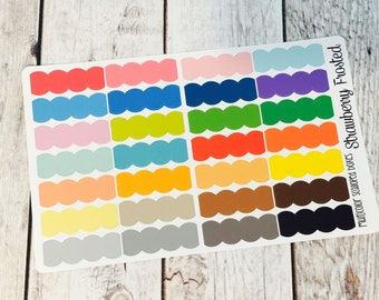 Scalloped Boxes Planner Stickers - Made to fit Vertical or Horizontal Layout
