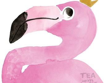 Pretty Pink Flamingo Print, Bird Wall Art, Home Decor Nursery Childrens Prints, Artwork Print, Illustraton