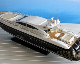 Mangusta 108 Black Hull Hand-made Wooden Model Yacht