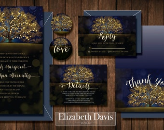 Wedding invitation printable tree and lights package + RSVP + Details insert + Thank You card +  matching envelope stickers, customizable