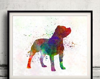 Staffordshire Bull Terrier in watercolor INSTANT DOWNLOAD 8x10 inches Fine Art Print Poster Decor Home Watercolor - SKU 1998