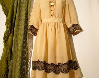 Victorian Headmistress Steampunk Gothic Lolita Black Lace Trim Sash Button Down Front High Collar Sheer Small-Medium Midi Dress