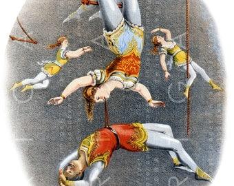 VICTORIAN CIRCUS TRAPEZE Act Illustration Stunning Digital Circus Download Trapeze Vintage Circus Print