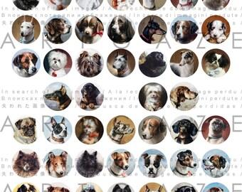 Dog Breeds Collage Sheet 1 inch Rounds 60 Images Vintage Dog Illustrations Dog Printables Digital Dog Download
