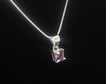 Square Amethyst, Silver Pendant Necklace