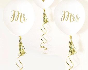 Mr & Mrs wedding balloons-set of 3-engagement balloons, wedding balloons, white and gold wedding balloons