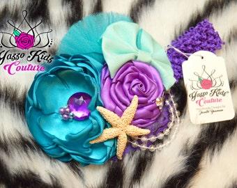 Couture Headband,Teal and Purple,Design your own headband, Birthday Theme Headband, Custom Headband, Ariel Headband, Mermaid Headband, Ariel