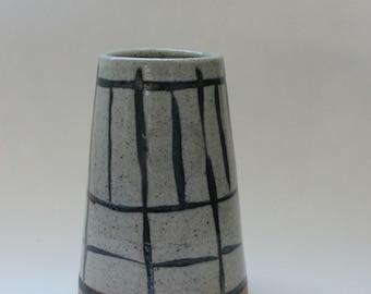 Hand painted stoneware vase