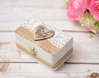 Wedding Ring Box Rustic Ring Holder Personalized Ring Bearer Pillow Woodland Wedding Bear