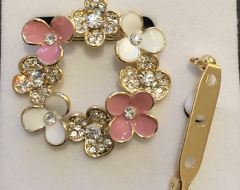 Brooch with crystals , Rhinestone , Gold plated Brooche, Flower Brooche, Pink and White Flower Brooche