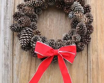 Pinecone Wreath, Natural Wreath, Winter Wreath, Rustic Wreath