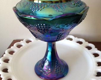Blue Carnival Glass Compote Dish with Lid - Indiana Glass Harvest Grape Pattern / Pedestal Covered Candy Dish / Iridescent Bowl