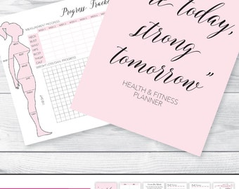 Fitness Planner Fitness Journal Health and Fitness Planner Workout Log Workout Planner Planner Inserts Fitness Printable Measurement Chart