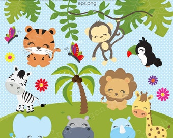 Jungle Animals clipart, Jungle clipart, Safari Clipart, Animals, Giraffe, Monkey, Lion, Zebra, Elephant, Commercial License Inc