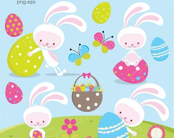 Easter Clipart, White Easter Bunny clipart, Easter Clip Art, Easter Egg clipart, Easter graphics, Spring, Commercial License Included