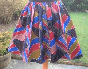 African Printed Skirt mini / knee length High Waist Made to measure with elasticated back waist - African Ankara Skirt - Free post in UK