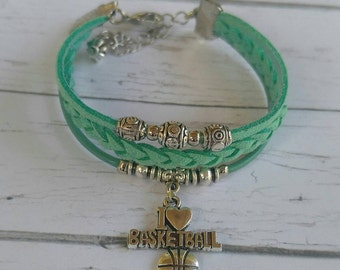 Personalized Sports Bracelet// Basketball Bracelet// Team Colors// Basketball Mom// Basketball Coach// Swimming Gift// Choose Colors & Charm
