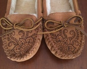 Custom Etched Minnetonka Moccasins, Cally style