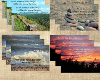 PRINTED Scripture postcards, Bible Verse - Nature Set - Set of 12