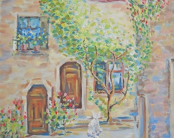 Cityscape Italian Street Provincial Small Town Cat Impasto Oil Painting City Landscape Cottage Wall Decor Panel Old Village Art Italy theme