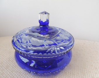 Cobalt Blue Cut Lead  Crystal Candy Dish Vintage , Germany