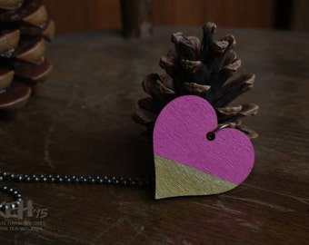 Hand Painted Simple Wooden Heart Necklace in Bright Pink and Gold