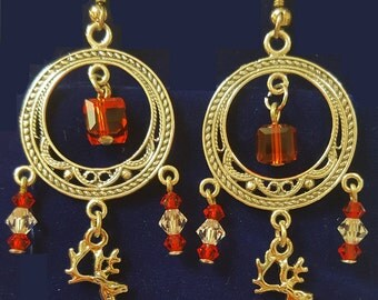 Reindeer Christmas Earrings with Red Siam and Clear Austrian Crystals. Gold filled findings - pierced.