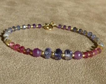 Tourmaline Bracelet, Iolite Bracelet, Gemstone Bracelet, Ombre Bracelet, Dainty Bracelet, Ruby Bracelet, Shaded Bracelet