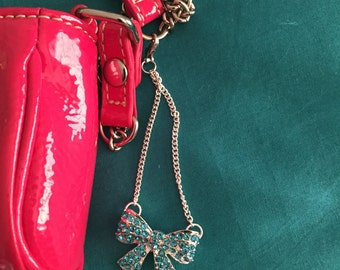 Bow Zipper Charm with Blue Rhinestones
